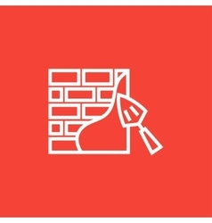 Spatula with brickwall line icon vector