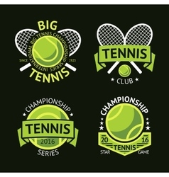 Set of old style tennis labels with ball and vector