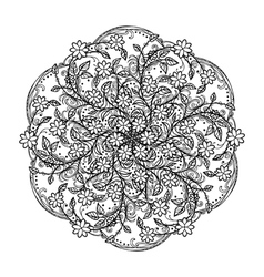 Contour mandala religious design element tattoo vector