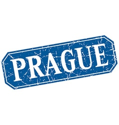 Prague blue square grunge retro style sign vector