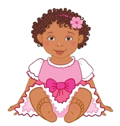 Cute african american baby girl in pink dress vector
