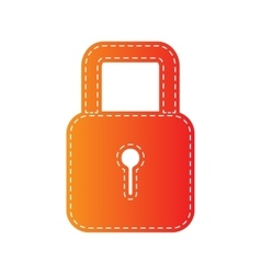 Lock sign  orange applique isolated vector
