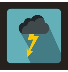 Gray cloud with lightning icon flat style vector