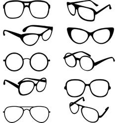 Set black of sunglasses frames vector