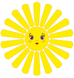 A cartoon yellow sun with rays on a white vector