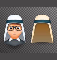 arab keffiyeh mask on boys head 3d design template vector image