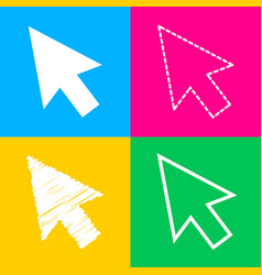 arrow sign four styles of icon on vector image vector image