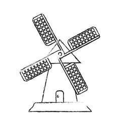 Blurred silhouette image cartoon farm windmill vector