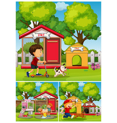 Boys and dogs in the park vector