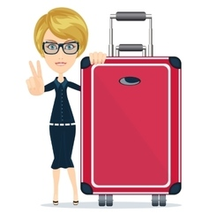 Businesswoman or manager traveling with a suitcase vector