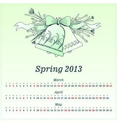 Calendar 2013 Spring vector image