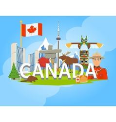 Canadian national symbols composition flat poster vector