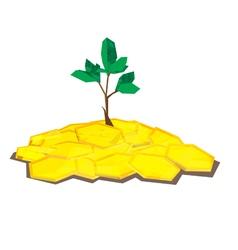 coin tree polygon vector image vector image