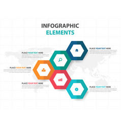 colorful hexagon business infographics elements vector image