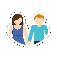 Couple romantic love cut line vector