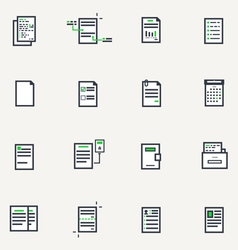 Document line icons vector