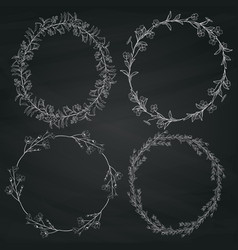 Doodle wreaths with branches herbs plants and vector