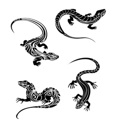 Fast lizards in and tribal style vector image