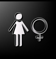 Female sign gray 3d printed vector