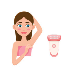 Flat girl with depilated armpit and shave vector