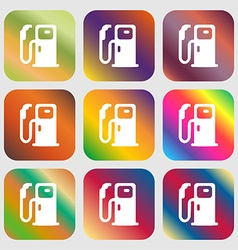 Fuel icon sign Nine buttons with bright gradients vector image