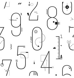 Geometric thin line art flat style numbers vector