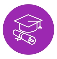 Graduation cap with paper scroll line icon vector