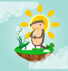 Happy groundhog day design with cute marmot holds vector