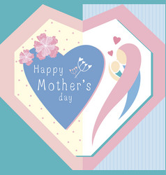 happy mothers day design in heart shape vector image