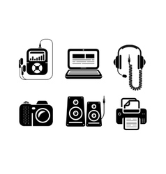 Icons in black for multimedia and office devices vector image vector image