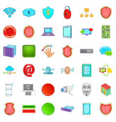 Internet security icons set cartoon style vector