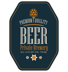 label for beer in a retro style with malt vector image vector image