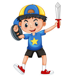 Little boy with armour and sword vector