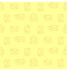 Mail envelop yellow seamless pattern vector image vector image