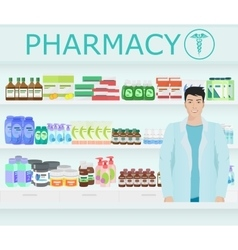 Male pharmacist at the counter in a pharmacy vector