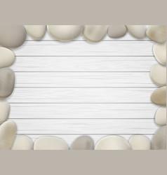 Pebble frame wooden background vector