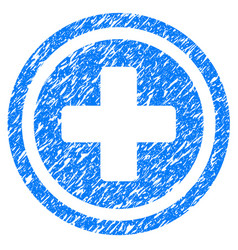 Rounded cross grunge icon vector