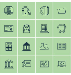 set of 16 education icons includes e-study vector image