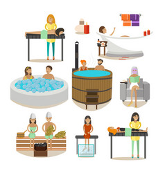 Set of spa salon people rehabilitation vector