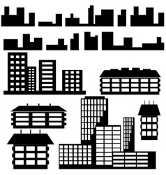 Silhouettes of houses and buildings icons vector image