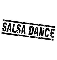 Square grunge black salsa dance stamp vector