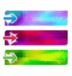 three banners with arrows vector image vector image