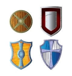 Wooden armour set made of wood and metal isolated vector