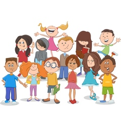 Kids or teens group cartoon vector