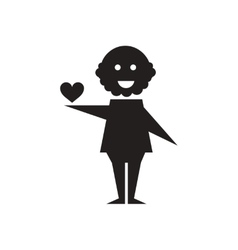 Flat icon in black and white heart man vector