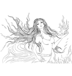 Line art of fire element girl vector image