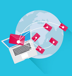 Business concept sending email marketing around vector