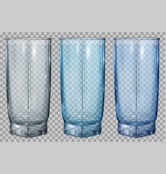 Three transparent glasses for water or juice vector