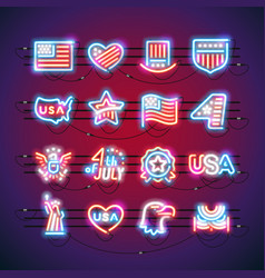Fourth of july neon signs vector