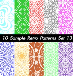 10 retro patterns textures set 13 vector